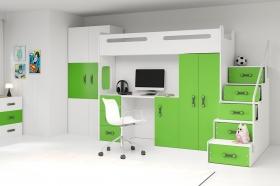 Hochbett Roxy 4 mit Schreibtisch & Schrank Grün-Weiß