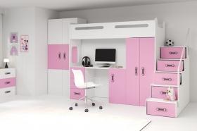 Hochbett Roxy 4 mit Schreibtisch & Schrank Rosa-Weiß