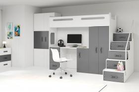 Hochbett Roxy 4 mit Schreibtisch & Schrank Grafit-Weiß